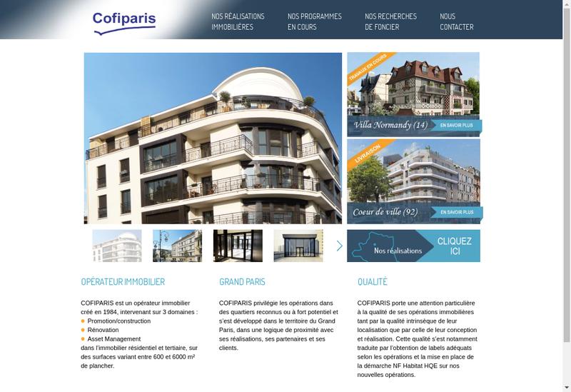 Capture d'écran du site de Cofiparis
