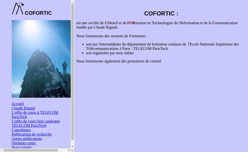 Capture d'écran du site de Cofortic