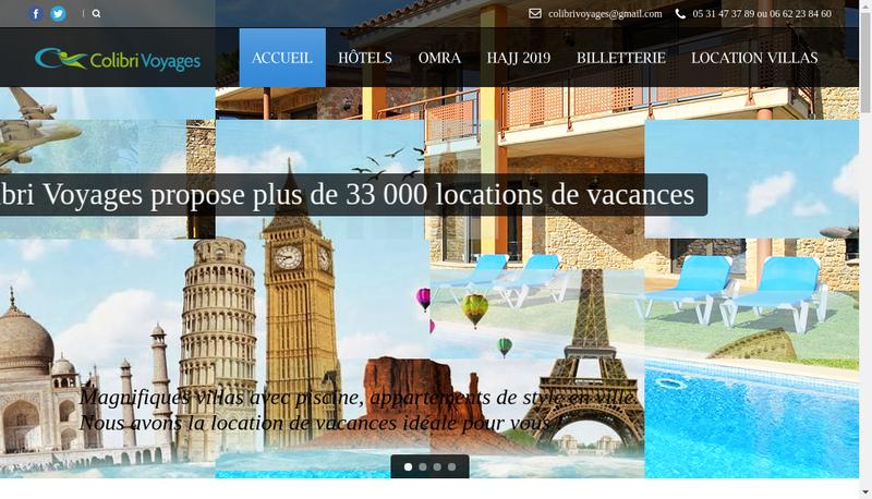 Capture d'écran du site de Colibri Voyages