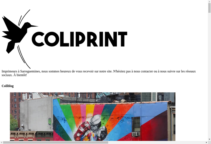 Capture d'écran du site de Coliprint