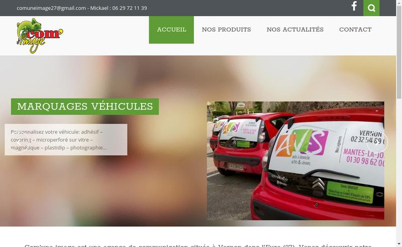 Capture d'écran du site de Com'une Image