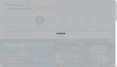 Capture d'écran du site de Concept Aluminium