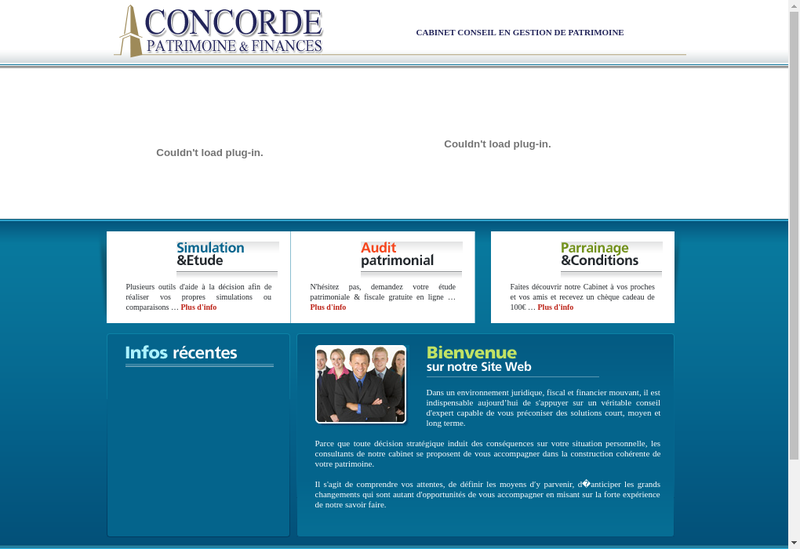 Capture d'écran du site de Concorde Finance France