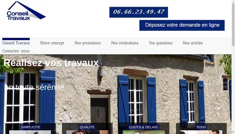 Capture d'écran du site de Conseil Travaux