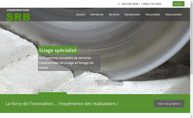 Capture d'écran du site de SBR Construction