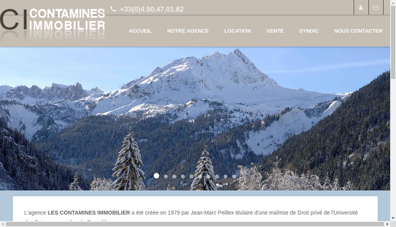 Capture d'écran du site de Les Contamines Immobilier