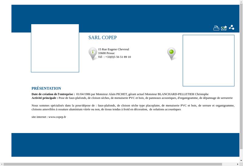 Capture d'écran du site de Copep