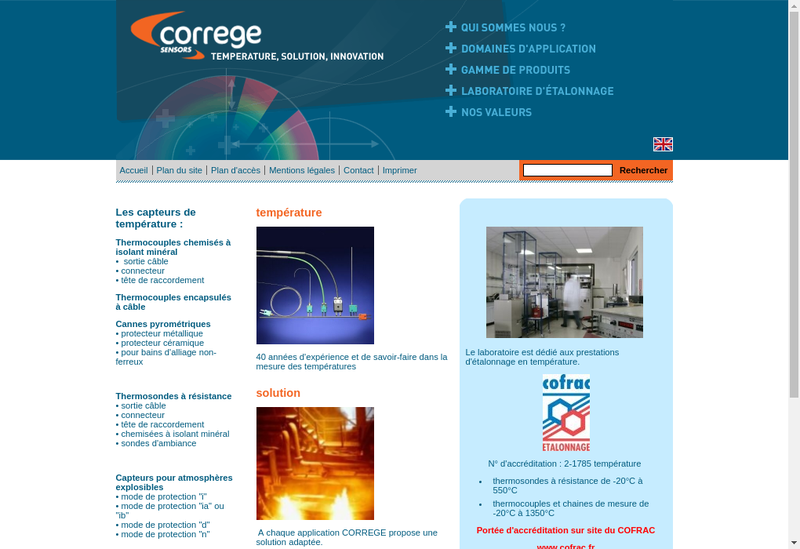 Capture d'écran du site de Correge Sensors, Tempel