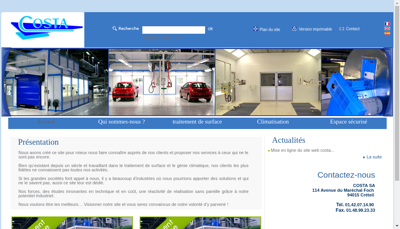 Capture d'écran du site de Costa SA