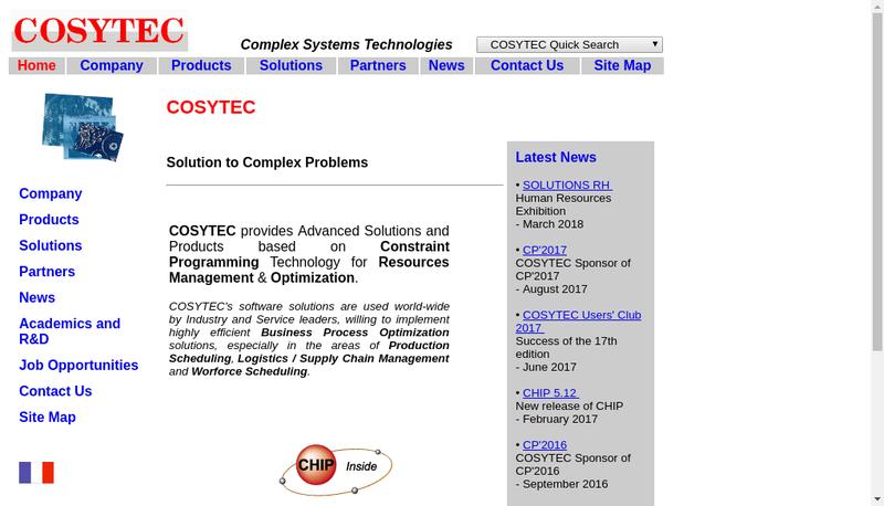 Capture d'écran du site de Cosytec