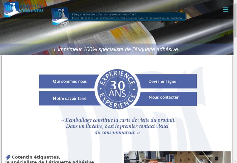 Capture d'écran du site de Cotentin Etiquettes