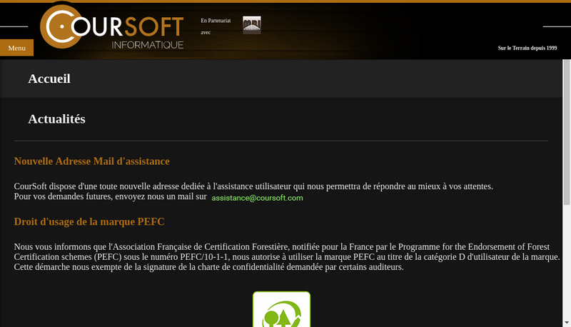 Capture d'écran du site de Coursoft Eurl