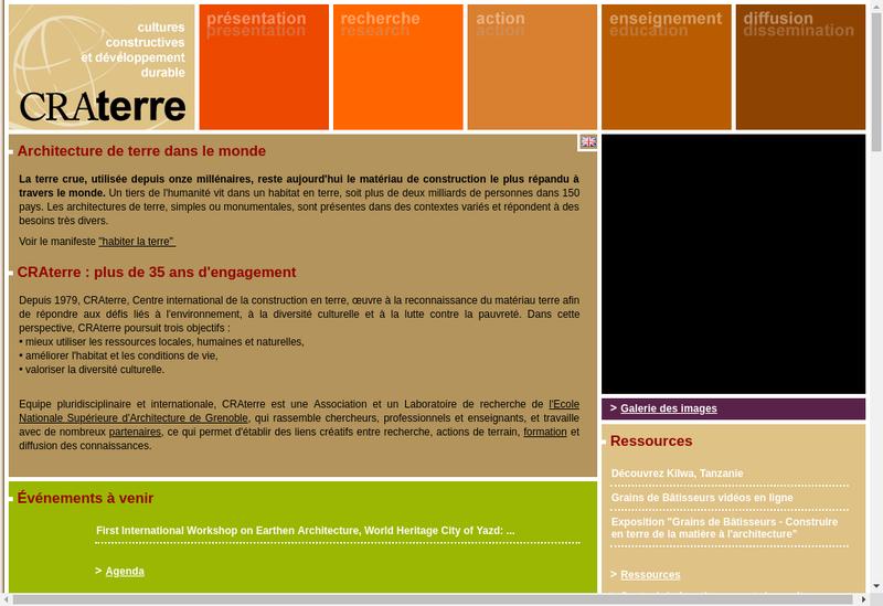 Capture d'écran du site de Craterre