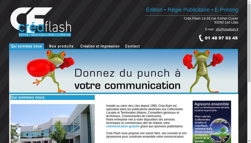 Capture d'écran du site de Crea'Flash