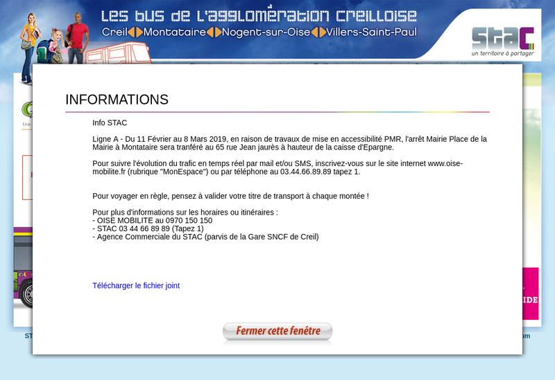 Capture d'écran du site de Keolis Creil