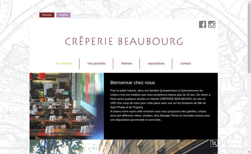 Capture d'écran du site de Creperie Beaubourg