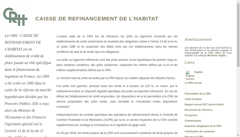 Capture d'écran du site de Caisse de Refinancement de l'Habitat