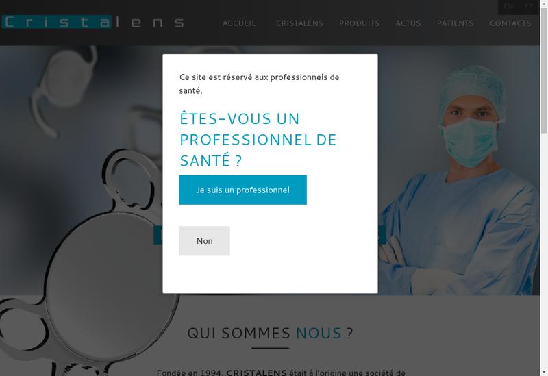 Capture d'écran du site de Cristalens