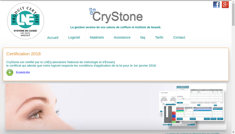 Capture d'écran du site de Crystone