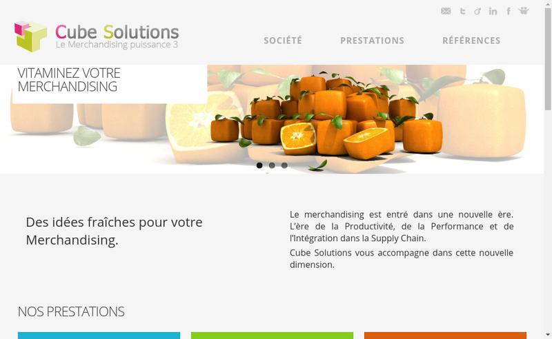 Capture d'écran du site de Cube Solutions