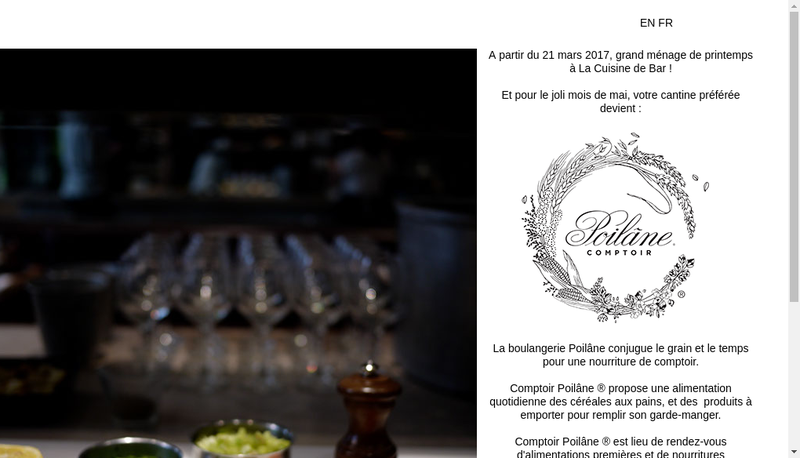 Capture d'écran du site de La Cuisine de Bar