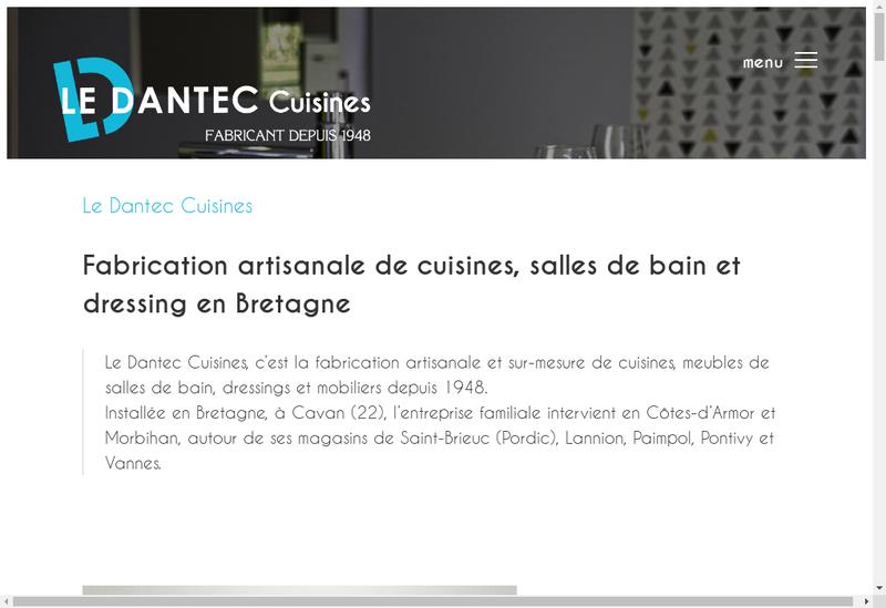 Capture d'écran du site de Cuisines le Dantec le Goff