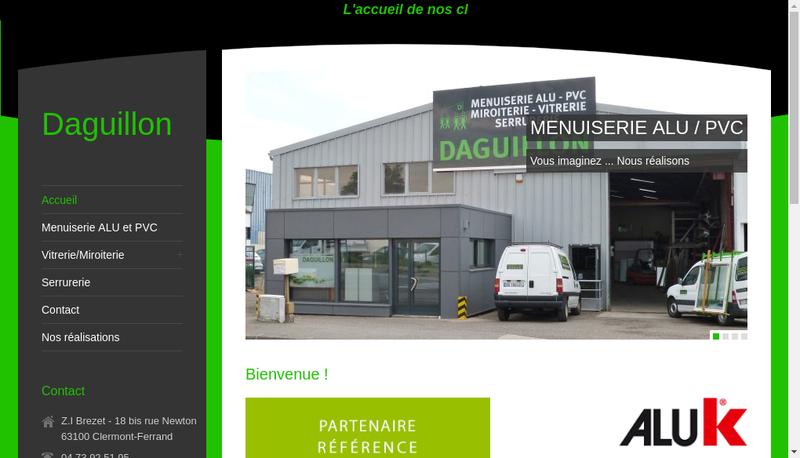 Capture d'écran du site de Miroiterie Daguillon