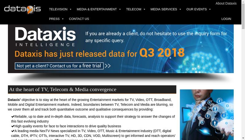 Capture d'écran du site de Dataxis