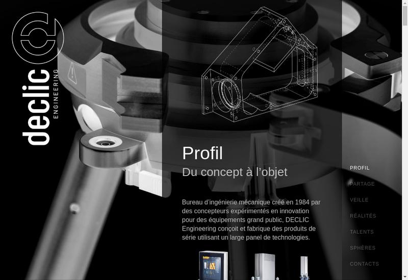 Capture d'écran du site de Declic Engineering