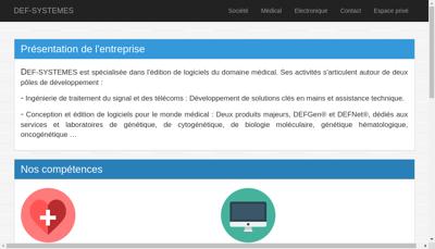 Capture d'écran du site de Def Systemes