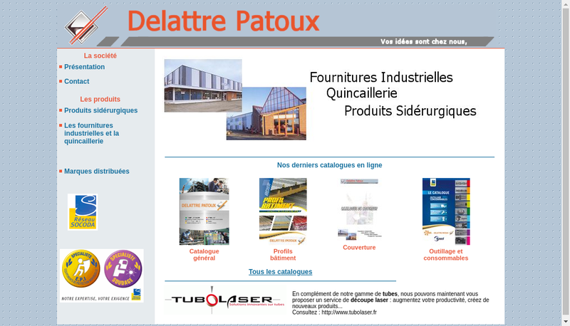 Capture d'écran du site de Delattre Patoux