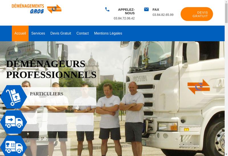 Capture d'écran du site de Transports Demenagements Gros