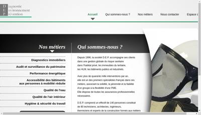 Capture d'écran du site de Dep Diagnostic Environnement Preventio