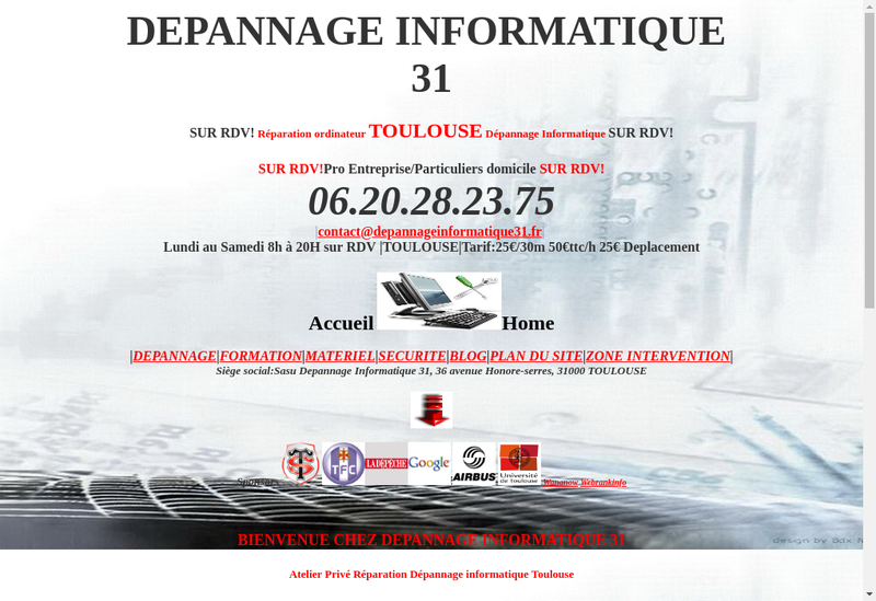 Capture d'écran du site de Depannage Informatique 31