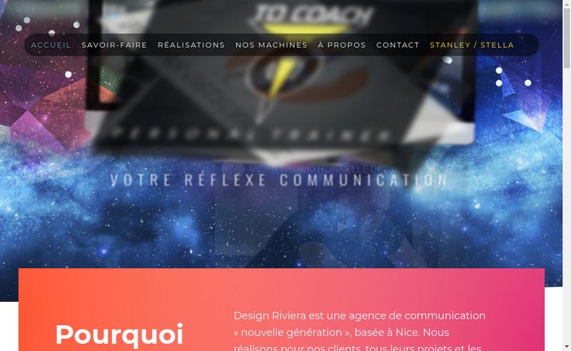 Capture d'écran du site de Design Riviera