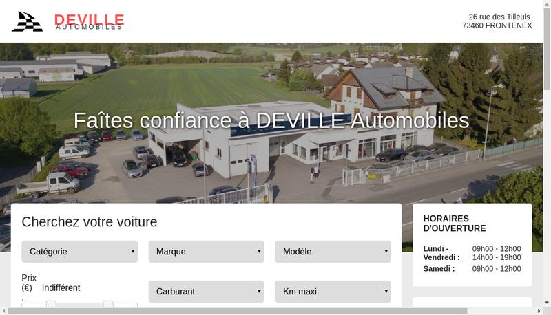 Capture d'écran du site de Deville Automobiles