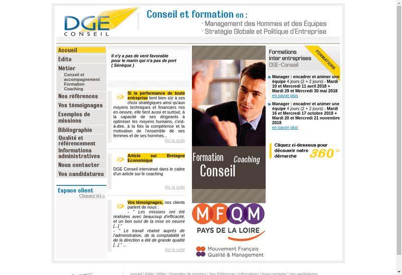 Capture d'écran du site de Dge Conseil
