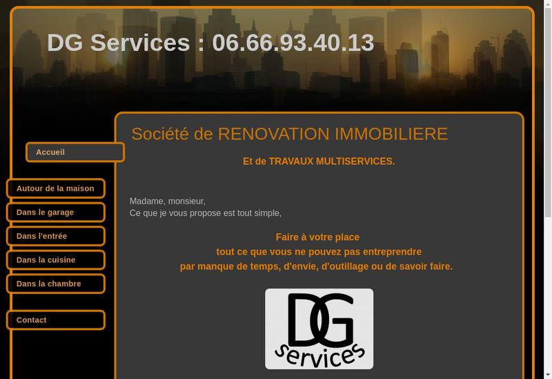 Capture d'écran du site de Dg Services