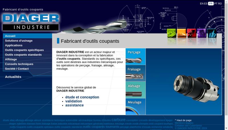 Capture d'écran du site de Diager Industrie