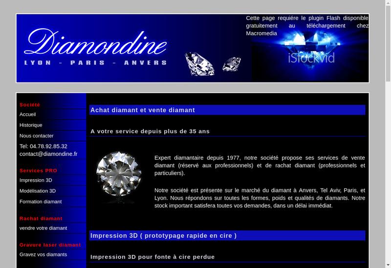 Capture d'écran du site de Diamondine