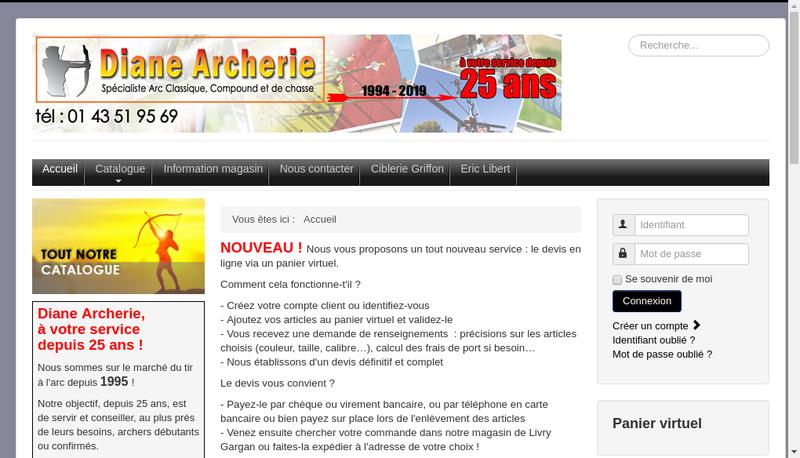 Capture d'écran du site de Diane Archerie