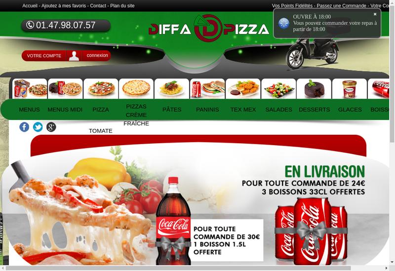 Capture d'écran du site de Diffa Pizza