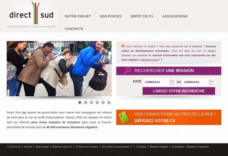 Capture d'écran du site de Direct Sud