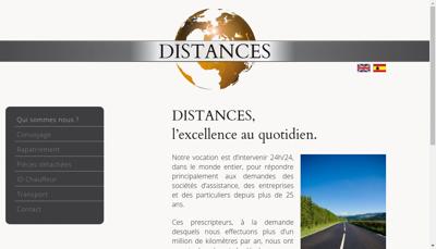Capture d'écran du site de Distances
