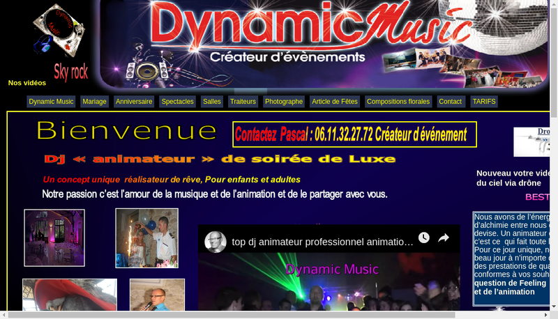 Capture d'écran du site de Dynamic Music