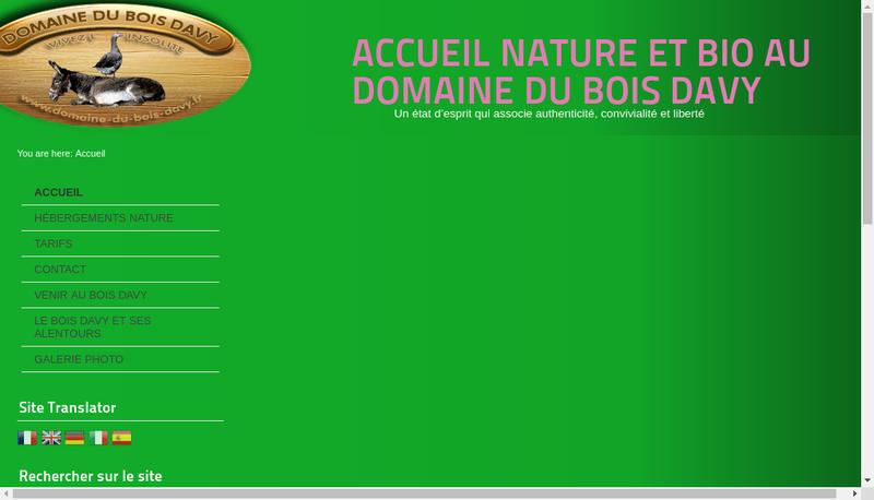 Capture d'écran du site de Le Bois Davy
