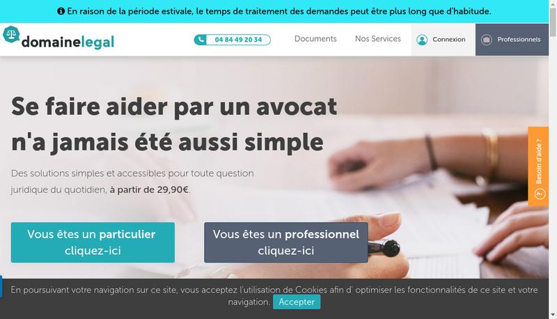 Capture d'écran du site de Domaine Legal