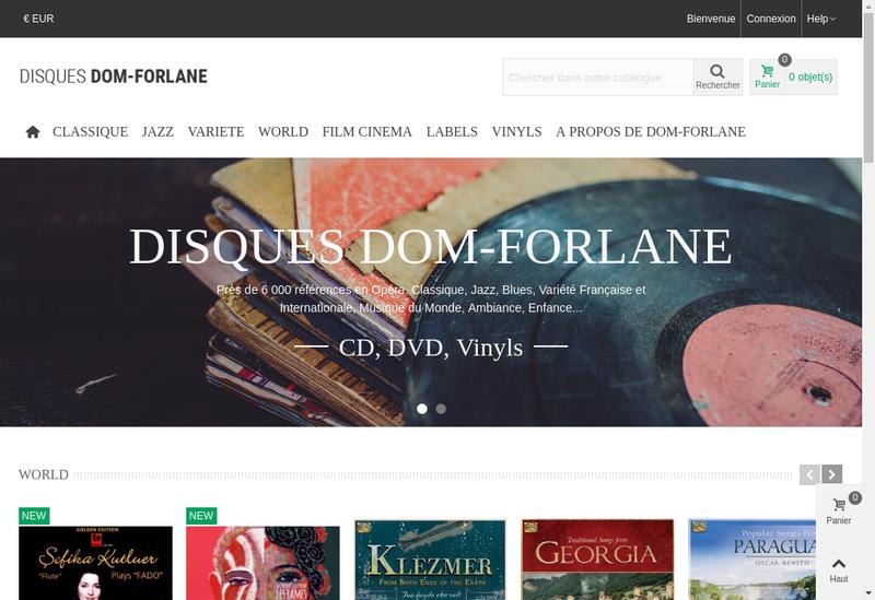 Capture d'écran du site de Disques Dom