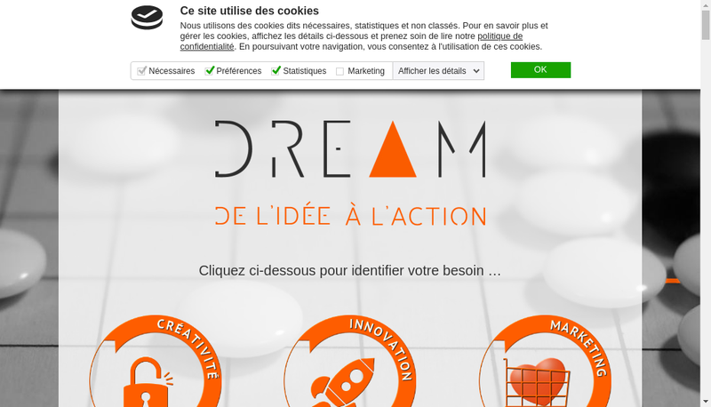 Capture d'écran du site de Dream Consulting