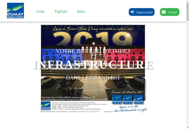 Capture d'écran du site de Dumay Bureau d'Etudes : Urba Infra Top
